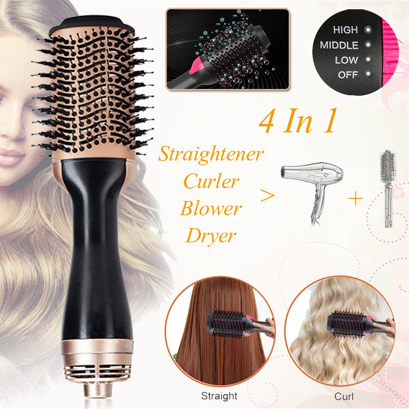 5 In 1 One Step Hair Dryer & Volumizer Comb Hair Curling Straightening Hair Styling Comb Straightener Curler Electric Air Iron