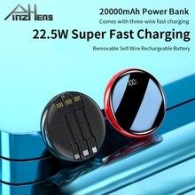 Pinzheng iPhoneおよびXiaomi用の20000mAhポータブルバッテリー充電器,ミニパワーバンク,デジタルディスプレイ,USB