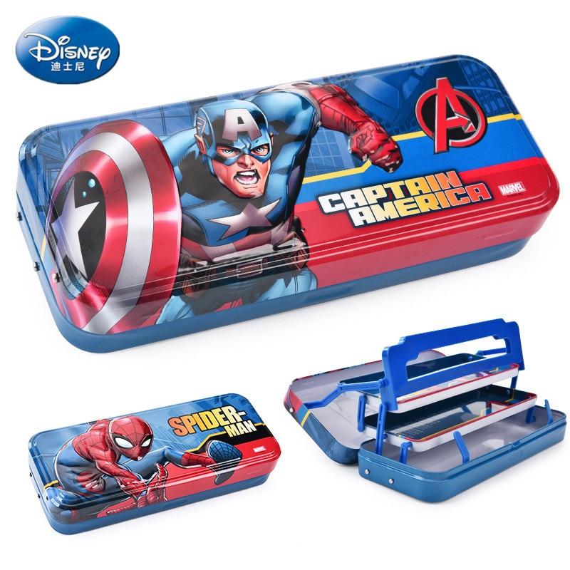 Disney Spiderman Cartoon Pencil Case Captain America Stationery High Capacity Multifunction School Supplies Boy Gift