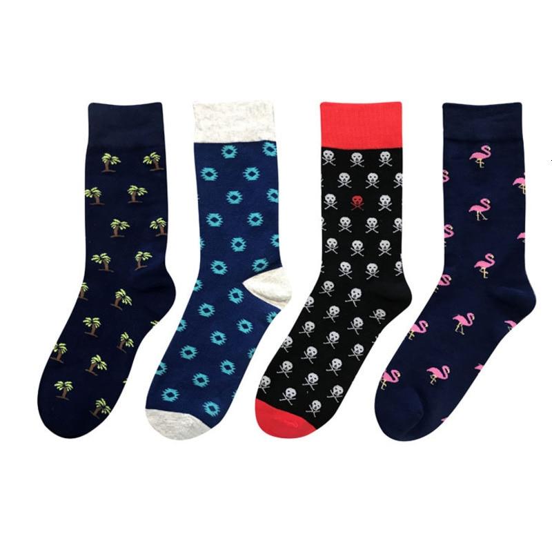 Новинка 2020, осенние и зимние мужские цветные деловые носки, чёсаные хлопковые носки Happy, фламинго, Harajuku стиль, новые мужские носки