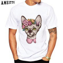 T shirt Men Summer Limited-Edition Tees Cute Sphynx Cat Head With Flowers Print T-Shirt Cool White Tops Boy Casual Short Sleeve(China)