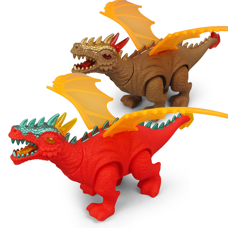 Hot Sales CHILDREN'S Toy Simulated Animal Electric Dinosaur Light Walk Sound Projection Dinosaur Pattern Stall Toy
