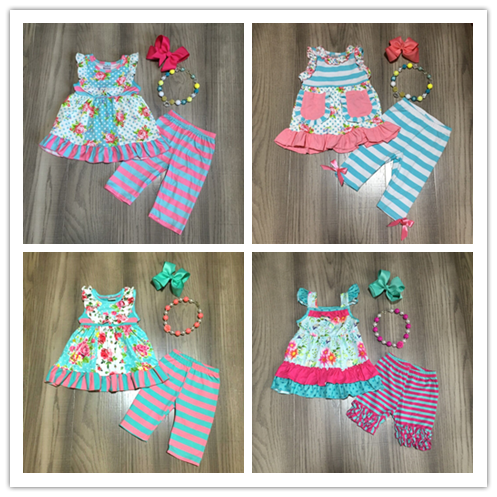 Baby Girls Summer Spring Outfits Girls Floral Top Stripe Capri With Accessories