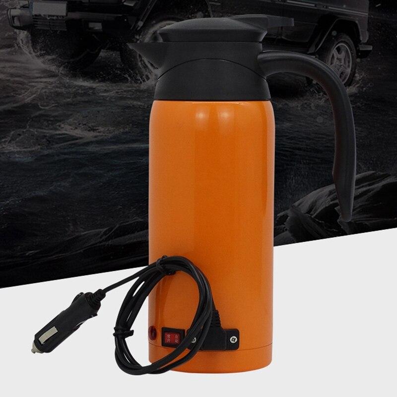 Универсальный Автомобильный Электрический чайник 12V24V, автомобильная чашка для кипячения воды, кофе, молочный чай, вакуумная колба из нержавеющей стали