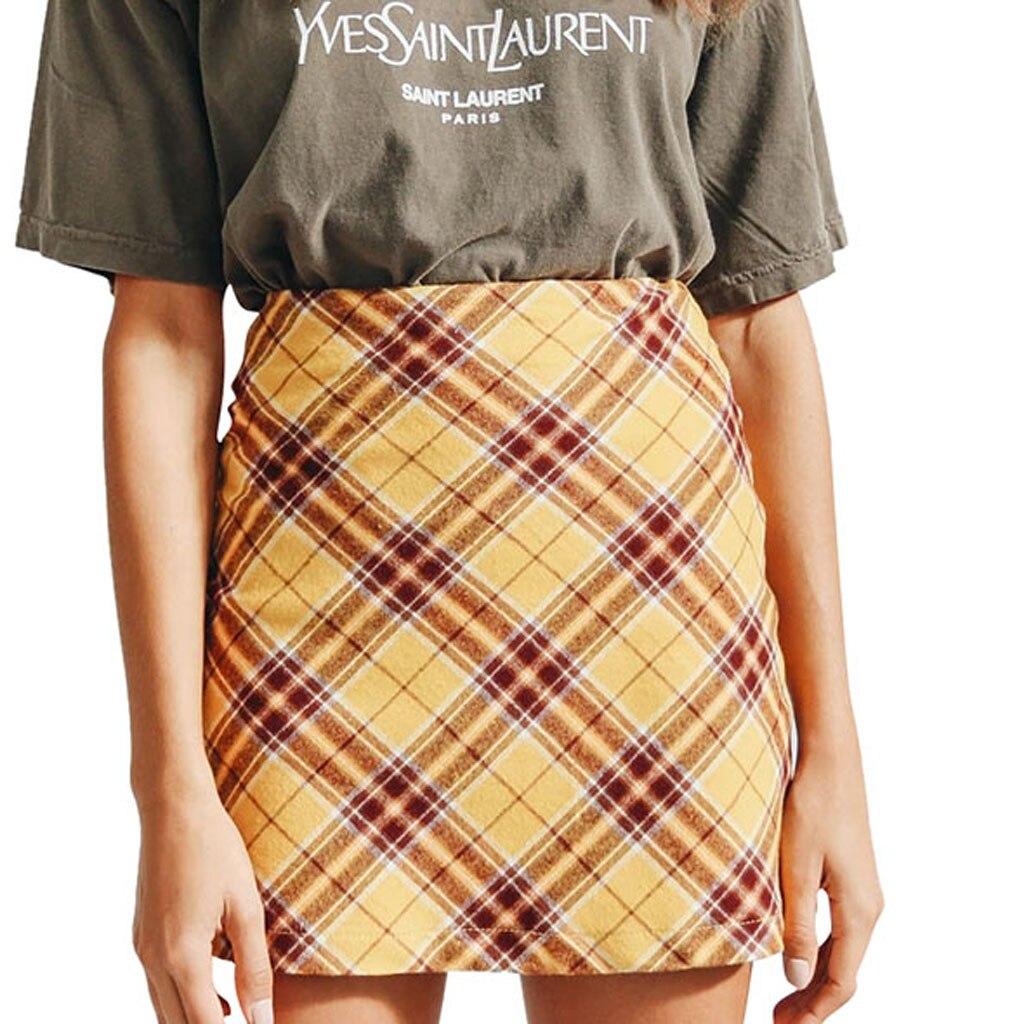 Womens Sexy Party Plaid Zipper Wooden Ear Slim High Waist Hip Short Mini Skirt