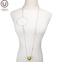 UKEBAY New Luxury Gold Color Fashion Necklaces Women Pearl Pendant Necklace Long Statement Necklace Chain For Party Jewelry Gift [daimi] grey color pearl necklace 160cm long sweater chain natural pearl long necklace 8 9mm rice pearl beach style 2017 new