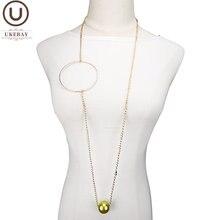 Ukebay Новое роскошное золотистое модное ожерелье женское жемчужное