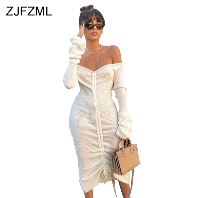 Front Drawstring Sexy Bandage Dresses Women White Slash Neck Long Sleeve Club Party Dress Autumn Winter Off Shoulder Maxi Dress 1