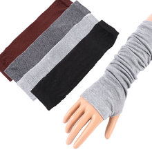 1PC Long Gloves Arm Warmers Fingerless Mittens Trendy Cuff Sun Hand Protection Anti-UV Simple Design Fashion Women Lady Gloves