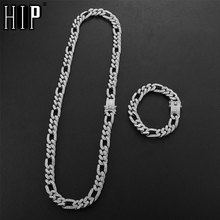 Hip Hop 1Set 13MM Iced Out Paved Rhinestones Miami Curb Figaro Link Chain Necklace CZ Bling Rapper For Men Jewelry