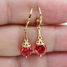 Drop Earrings Women Golden Earings pendientes Multicolor Tourmaline Earring Jewelry brincos orecchin Christmas Gift earrings D30