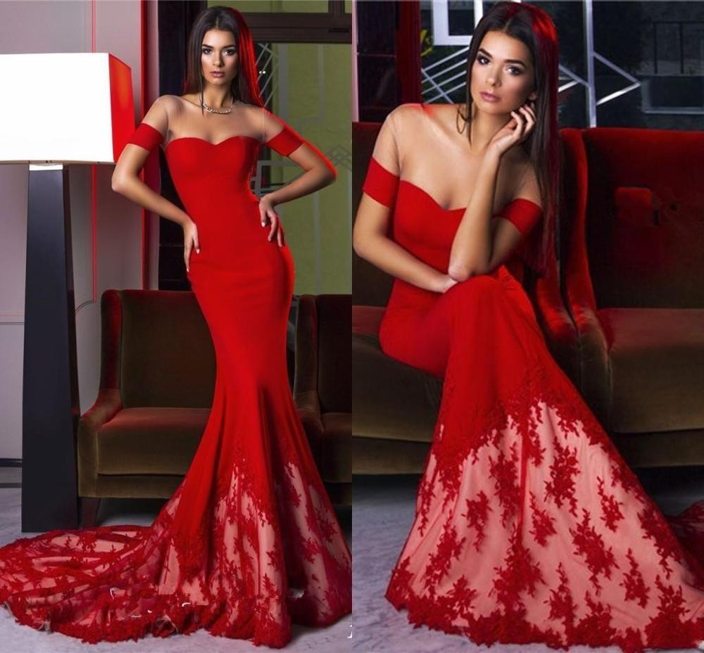 Charming Red Mermaid Evening Dresses 2020 Off The Shoulder Slim Lace Tail Custom Made Prom Dress Lady Formal Party Occasion Wear