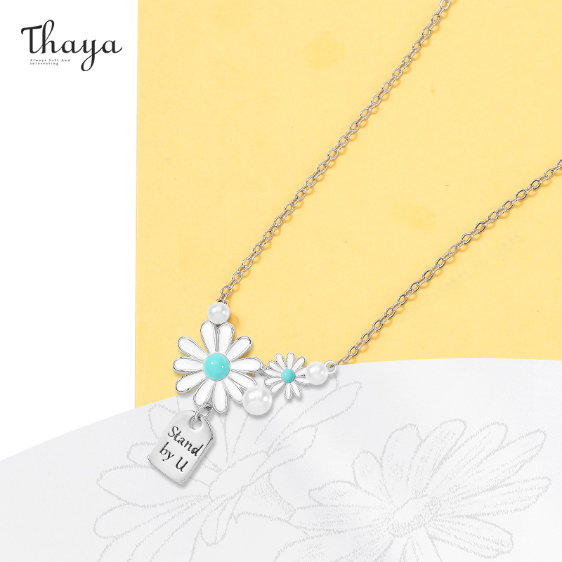 Thaya 45cm Shell Flower Pendant Necklace For Women 925 Sterling Silver Engraved Text Romatic Necklace Elegant Fine Jewelry Gift