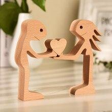Casal estátua de madeira com amor lareira pequena decoração ótima escultura com mensagem de amor artesanato decoração dropshiping