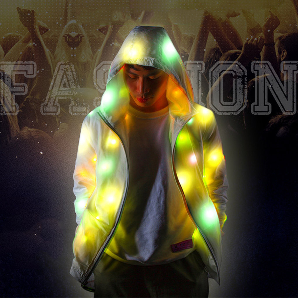 Rave Colorful Light Up LED Hooded Jacket Coat Mens Womens Colorful Glowing Jacket Led Colorful Luminous Clothing *