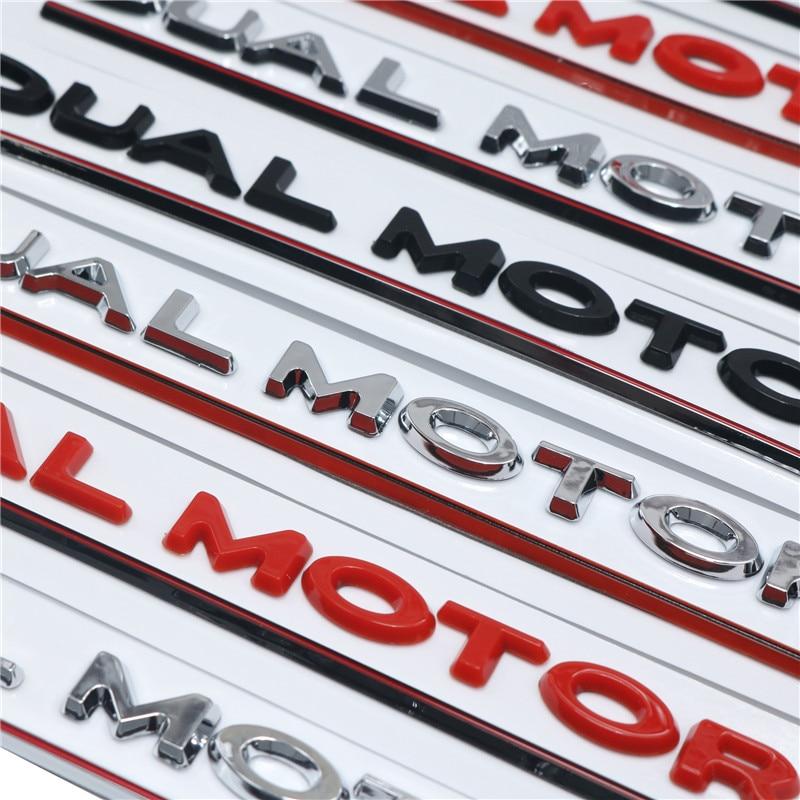 DUAL MOTOR Underlined Letters Emblem for Tesla Model 3 Car Styling Refitting High Performance Trunk Badge Sticker Matte Black
