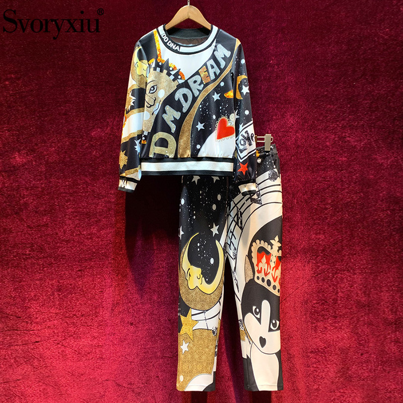Svoryxiu Luxury Runway Autumn Winter Casual Pants Suits Women's Long Sleeve Cartoon Print Pullover + Pants Motion Two Piece Set