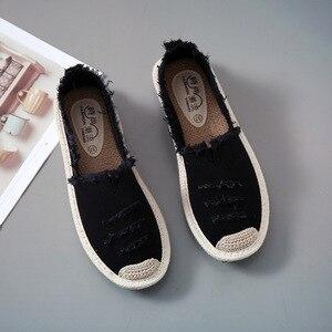 Image 2 - Kobiety mieszkania balerinki Slip On w stylu Casual, damska na płótnie buty mokasyny oddychające kobiet espadryle jazdy obuwie Zapatos Muje