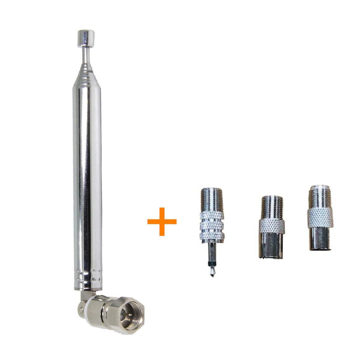 3.5dB Gain FM Radio Antenna Thread Design F Type Male Telescopic Antennas With 3 Adapters 3.5mm PAL Male/Female