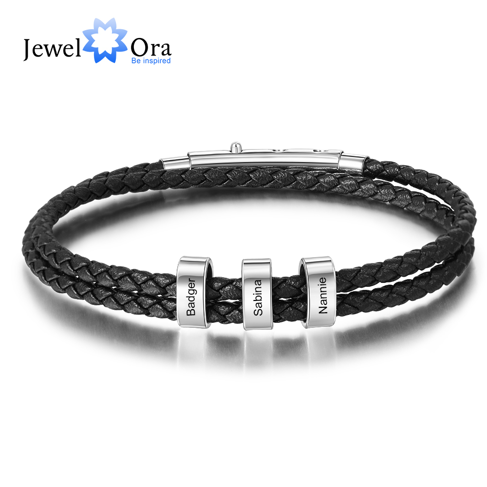 Personalized Men Leather Bracelets With