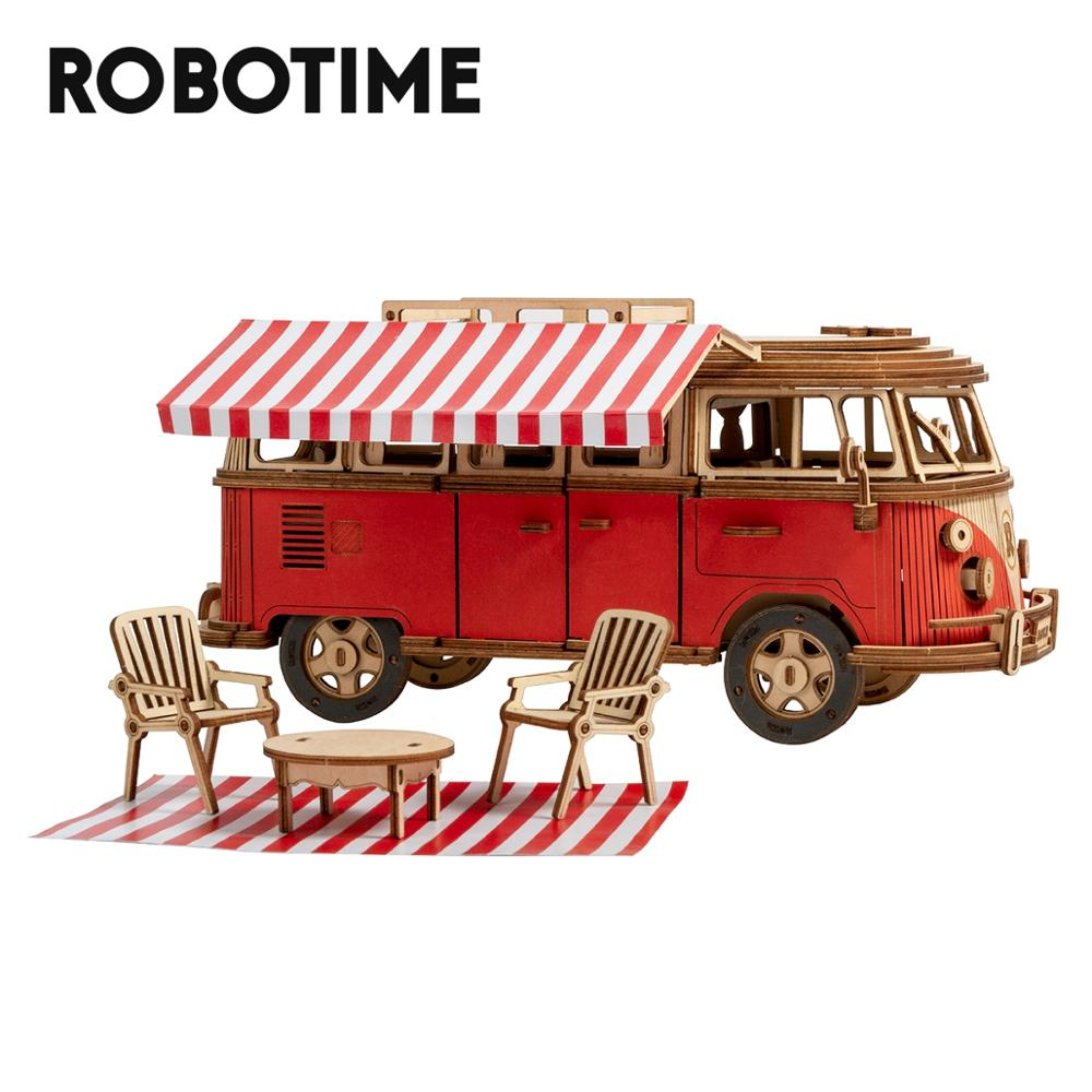 Robotime 242pcs DIY 3D Camper Van Wooden Recreational Vehicle Puzzle Game Assembly Car
