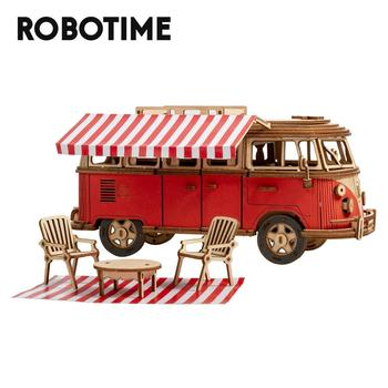 Robotime 242pcs DIY 3D Camper Van Wooden Recreational Vehicle Puzzle Game Assembly Car Toy Gift for Children Teens Adult MCB01
