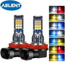 2Pcs 2สีH8 H11 LEDหลอดไฟLed 9005 9006 HB4 3030 24SMDด้านหน้าหมอกโคมไฟLedไฟหน้าโคมไฟหลอดไฟH3 H7ไฟLEDหมอก
