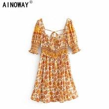Rayon Dress Short-Sleeve Square Collar Floral-Print Boho Women Beach Bohemian Elestic