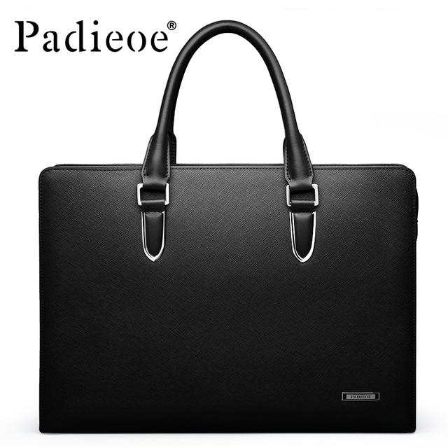 Padieoe Men's Briefcase Genuine Leather Totes Bag for Documents Leather Men's Shoulder Bag Male Cow Skin Business Messenger Bag