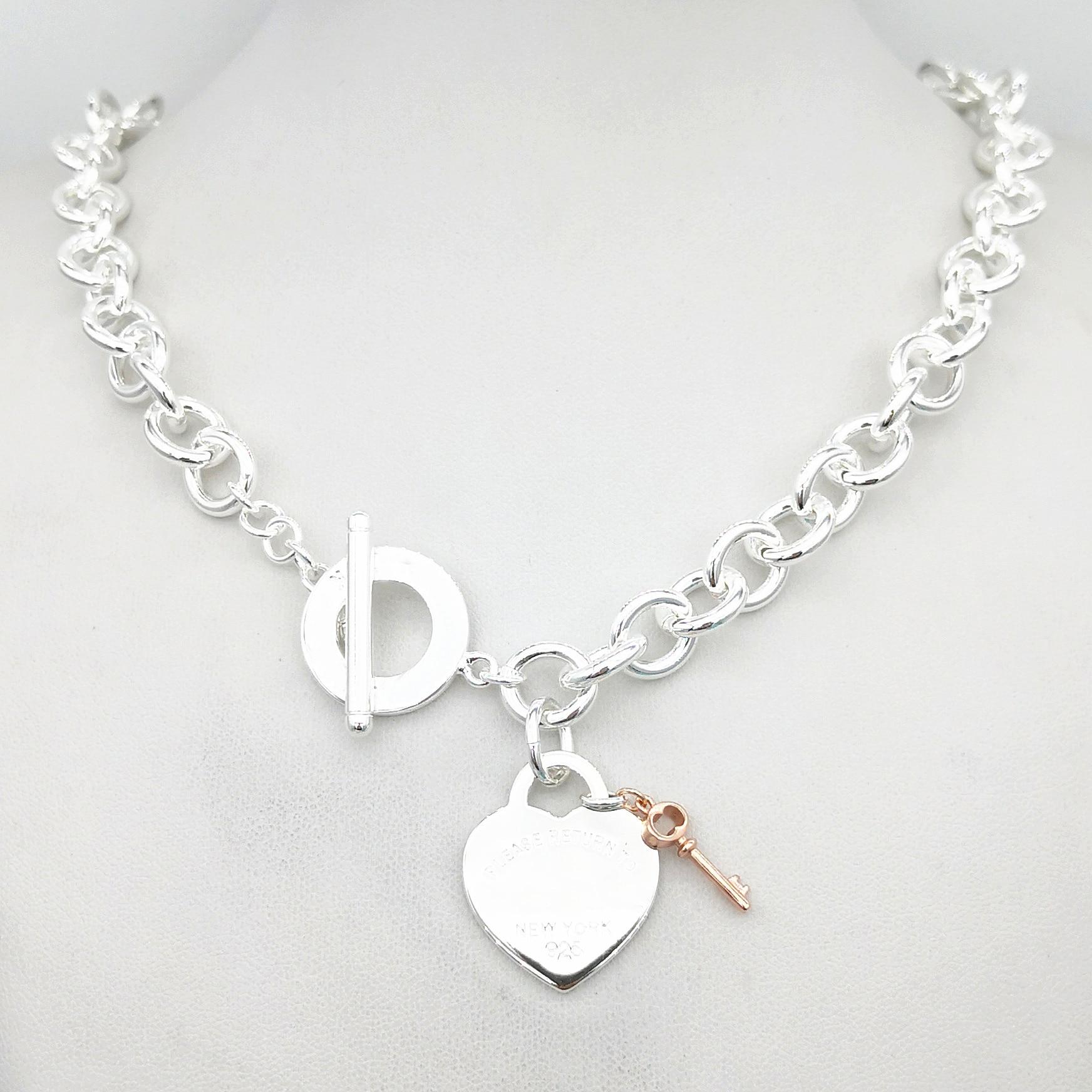 Женское классическое серебряное ожерелье с подвеской в виде сердца из розового золота, женское ожерелье из стерлингового серебра с круглым