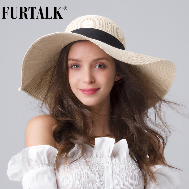 FURTALK Summer Beach Hat Women Large Straw Hat Big Brim Sun Hats UV Protection Foldable Roll Up Floppy Cap Chapeu Feminino 2020