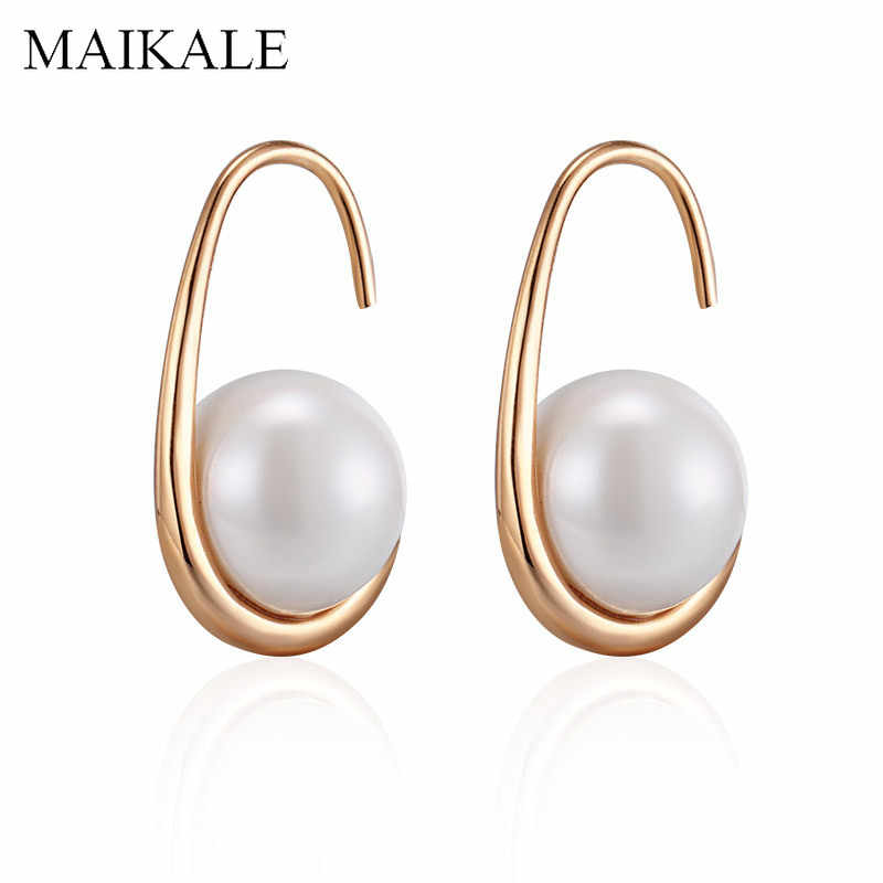 MAIKALE New Fashion 10MM Pearl Earrings Gold Silver Color Hook Earrings with Pearl Stud Earrings for Women Classic Jewelry Gifts