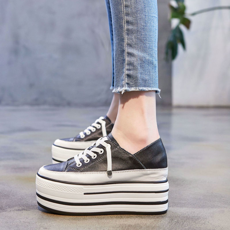 Genuine Leather thick-soled muffin shoes increased 9cm two wear casual sports shoes wild women single shoes walking shoes ZZ-284