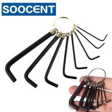 купить Portable 8 in 1 Steel Hex Key Spanner Hexagonal Wrench Socket Head Screw Allen Keys Wrench Cycling Bike Bicycle Repair Tool Set дешево