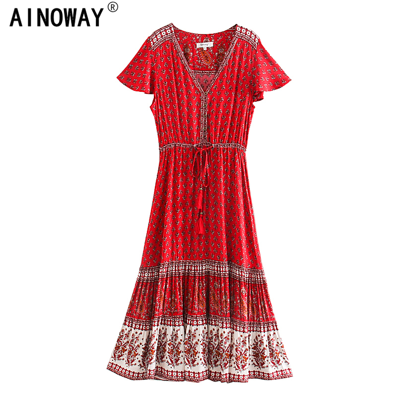 Vintage chic women Red Floral print  beach Bohemian rayon maxi dresses Ladies V neck botton Boho pleated robe vestidosDresses   -