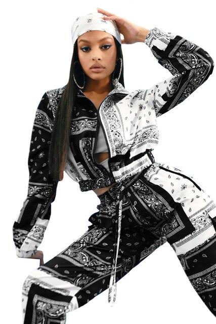 Paisley Bandana Print Two 2 Piece Set Women Fitness Sweatsuit Zipper Up Sweatshirt + Jogger Pants Set Tracksuit Vintage Outfits 3