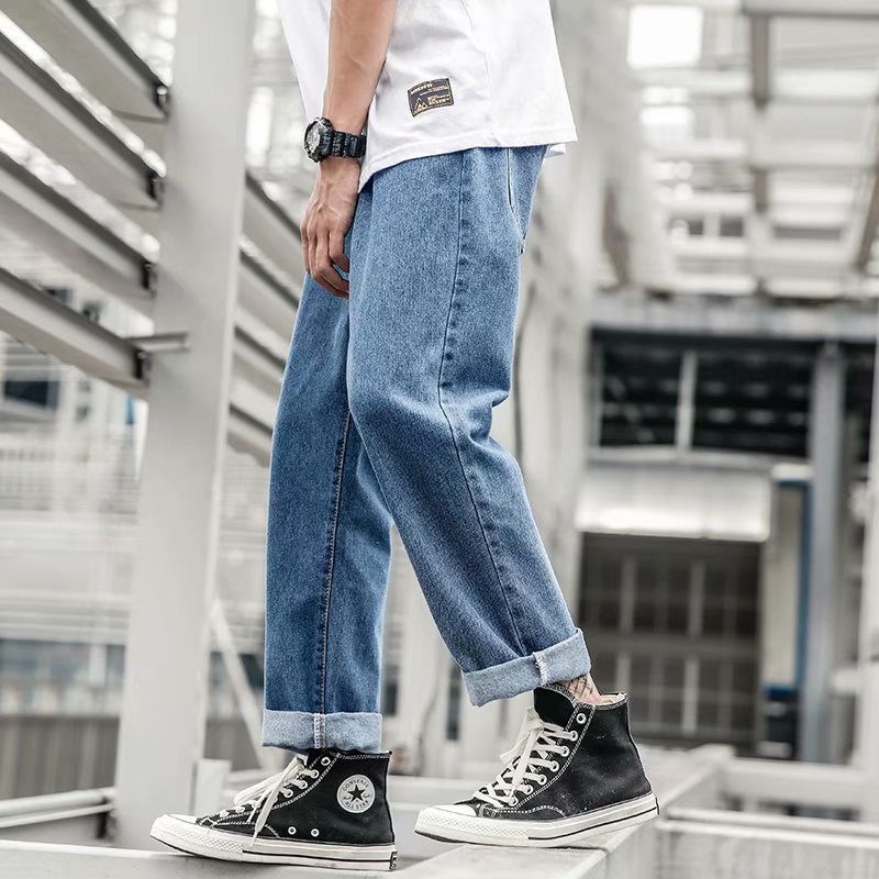 Autumn INS MEN'S Jeans Korean-style Popular Brand Teenager Wide-Leg Capri Loose Straight Pendant Sense Dad Pants