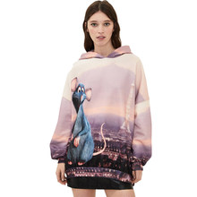 Cute cartoon mouse printed hooded sweatshirts, women Terry pullovers long sleeve, women's casual tops of large sizes with the(China)
