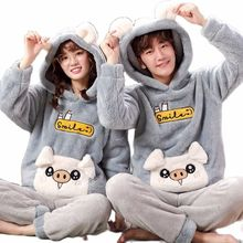 Pajamas Home-Wear Winter Men's Cartoon Cute Warm Autumn Velvet And Coral Hooded Thickened