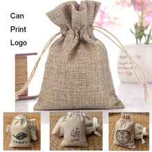 Biege Flax Linen Gift Bags 8x10cm 9x12cm 10x15cm(4x6)  13x18cm pack of 50 Jewelry Drawstring Packaging pouch