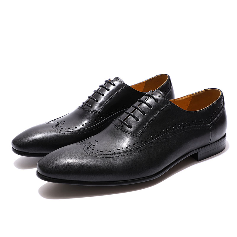 FELIX CHU Classic Wing Tip Oxfords Men's Dress Shoes Genuine Leather Black Brown Brogue Oxford Shoes Mens Leather Shoes Brogue