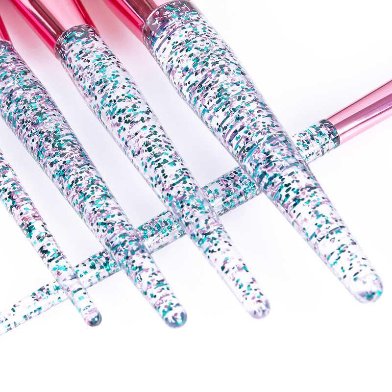 10PCS Professional make-up pinsel Diamant Kristall pinsel set Acryl griff Foundation erröten pinsel pulver gemischt lidschatten tool kit