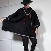 Japanese Retro Coat Men's mid-long fall and winter suiting Cape Cape Coat Tide Dark Gray Cape Hair cape psv rombo front gray 2 pcs 129090