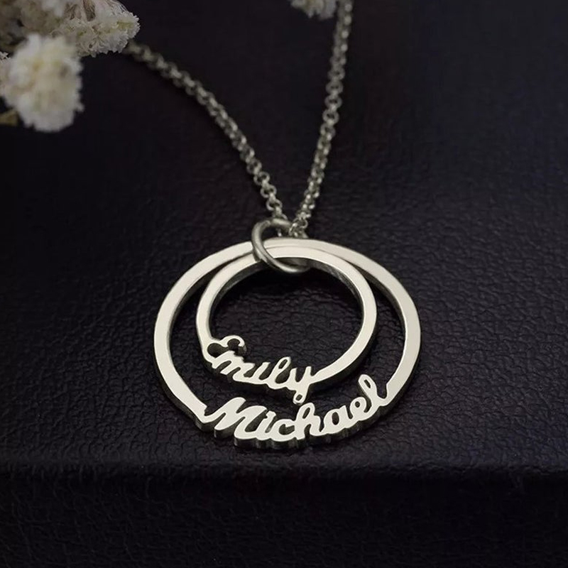 Circle Pendant Personalized Name Necklace Collier Personalized Two Nameplate Necklaces Pendents Stainless Steel Custom Jewelry in Chain Necklaces from Jewelry Accessories