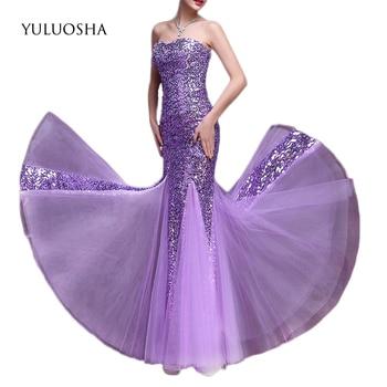 YULUOSHA Formal Dress Backless Strapless Sequined Trumpet Royal Blue Dress for Girls Evening Dress Vestido De Noche Con Cristal