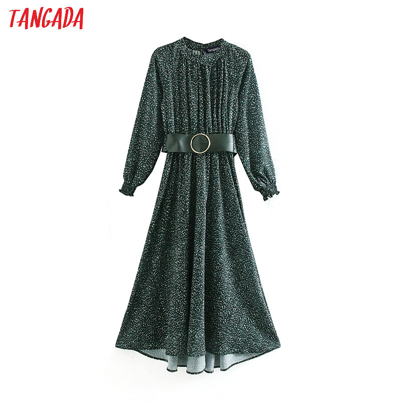 Tangada Fashion Women Green Dots Print Dress With Belt Stand Collar Long Sleeve Ladies Loose Midi Dress Vestidos XN16