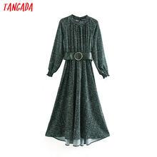 Moda de mujer Tangada verde estampado de puntos vestido con cinturón y cuello, manga larga, sueltas damas vestido midi Vestidos XN16