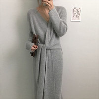 2019 New Korean Belted Sweater Dress Women Fashion Office Lady V Neck Long Sleeve Knitted Dress Winter Warm Thick Vestidos