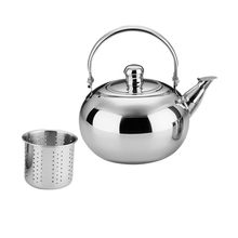 Stainless Steel Tea Kettle Teapot With Filter 1.6L For Kitchen Camping, Metal Infuser Teapot Water Coffee Pot