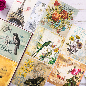 8pcs/Set Vintage Bird English Letters Vellum Paper Pack for Scrapbooking Happy Planner Card Making Junk Journal Project